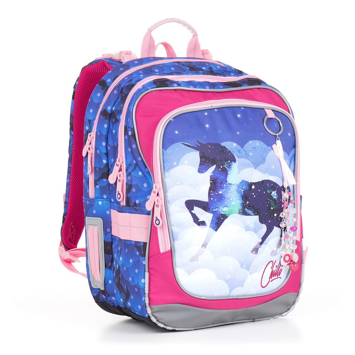 Dvoukomorový školní batoh pro holčičky s motivem jednorožce a ... e760f0b405
